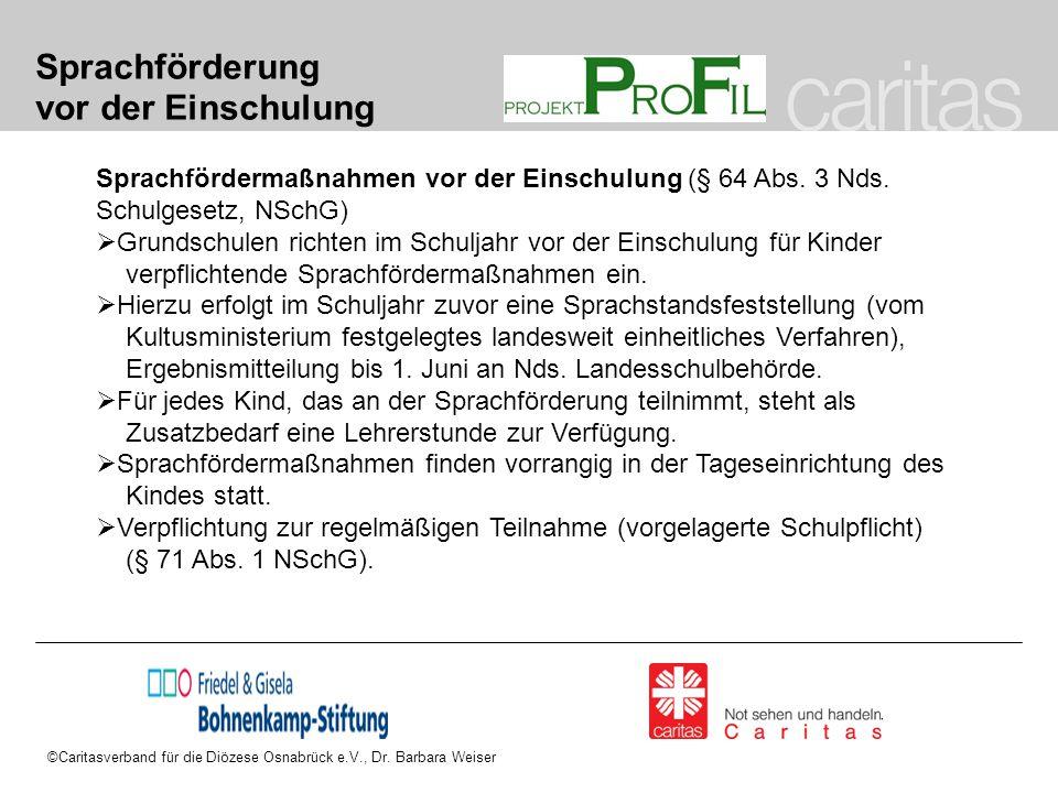 ©Caritasverband für die Diözese Osnabrück e.V., Dr. Barbara Weiser Sprachförderung vor der Einschulung Sprachfördermaßnahmen vor der Einschulung (§ 64