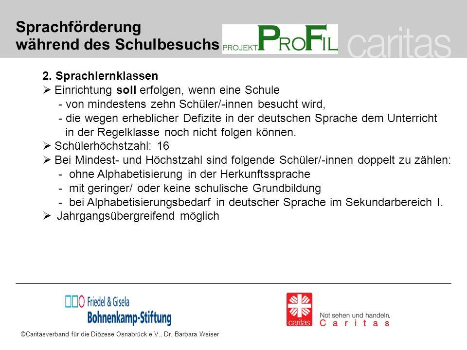 ©Caritasverband für die Diözese Osnabrück e.V., Dr. Barbara Weiser Sprachförderung während des Schulbesuchs 2. Sprachlernklassen  Einrichtung soll er