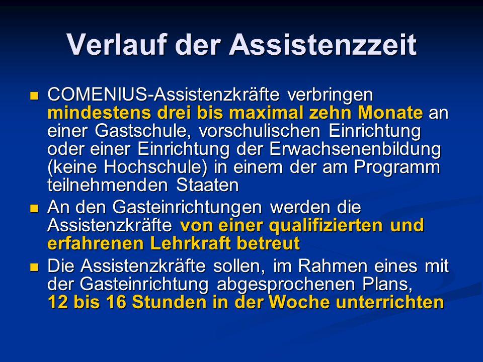 Verlauf der Assistenzzeit COMENIUS-Assistenzkräfte verbringen mindestens drei bis maximal zehn Monate an einer Gastschule, vorschulischen Einrichtung