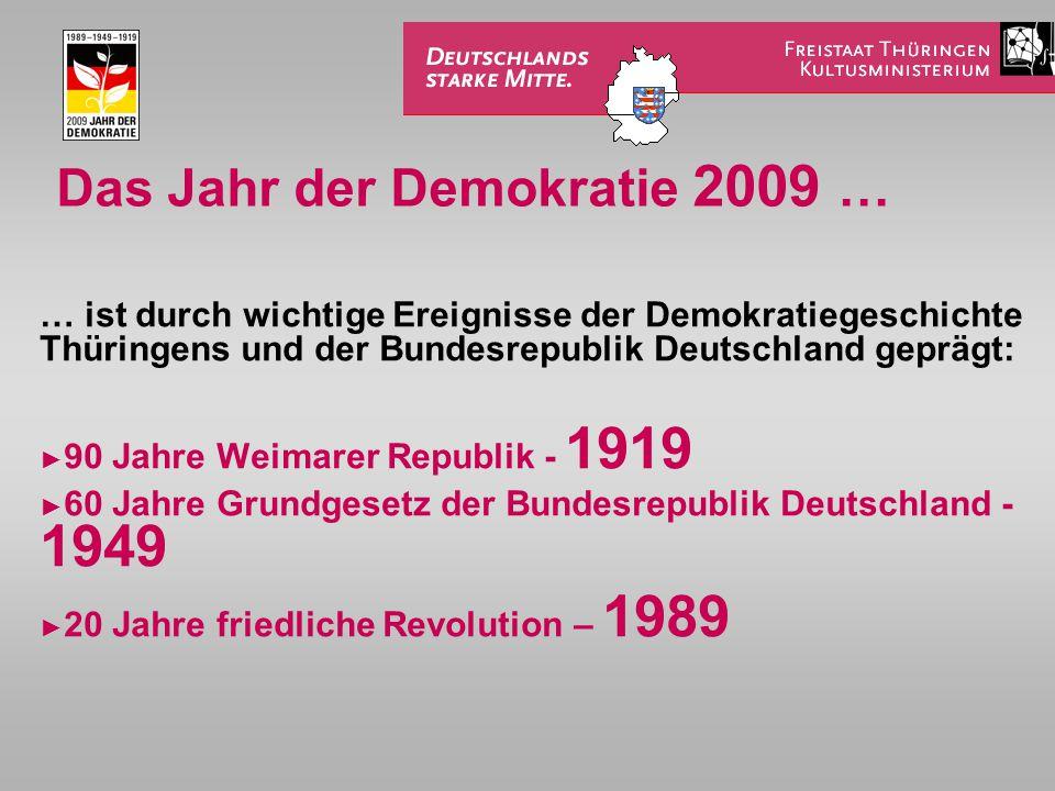 Das Jahr der Demokratie 2009 … … ist durch wichtige Ereignisse der Demokratiegeschichte Thüringens und der Bundesrepublik Deutschland geprägt: ►9►90 Jahre Weimarer Republik - 1919 ►6►60 Jahre Grundgesetz der Bundesrepublik Deutschland - 1949 ►2►20 Jahre friedliche Revolution – 1989