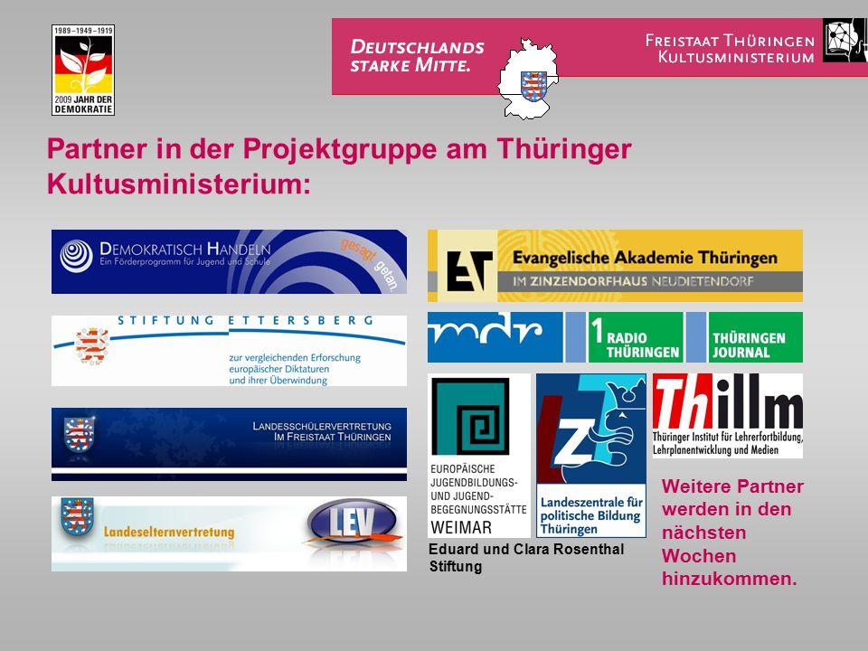 Partner in der Projektgruppe am Thüringer Kultusministerium: Weitere Partner werden in den nächsten Wochen hinzukommen. Eduard und Clara Rosenthal Sti