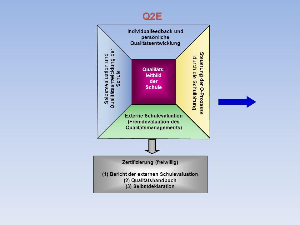 Individualfeedback und persönliche Qualitätsentwicklung Selbstevaluation und Qualitätsentwicklung der Schule Externe Schulevaluation (Fremdevaluation