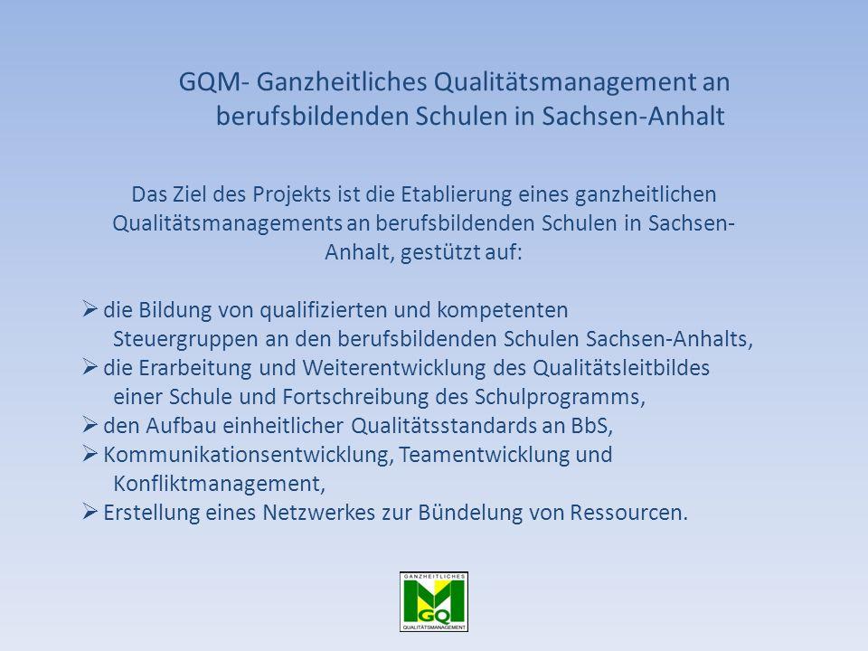 GQM- Ganzheitliches Qualitätsmanagement an berufsbildenden Schulen in Sachsen-Anhalt Das Ziel des Projekts ist die Etablierung eines ganzheitlichen Qu