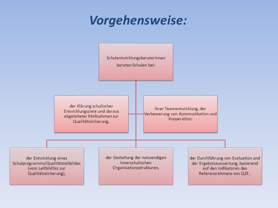 Vorgehensweise: SchulentwicklungsberaterInnen beraten Schulen bei: der Entwicklung eines Schulprogramms/Qualitätsleitbildes (vom Leitbild bis zur Qual