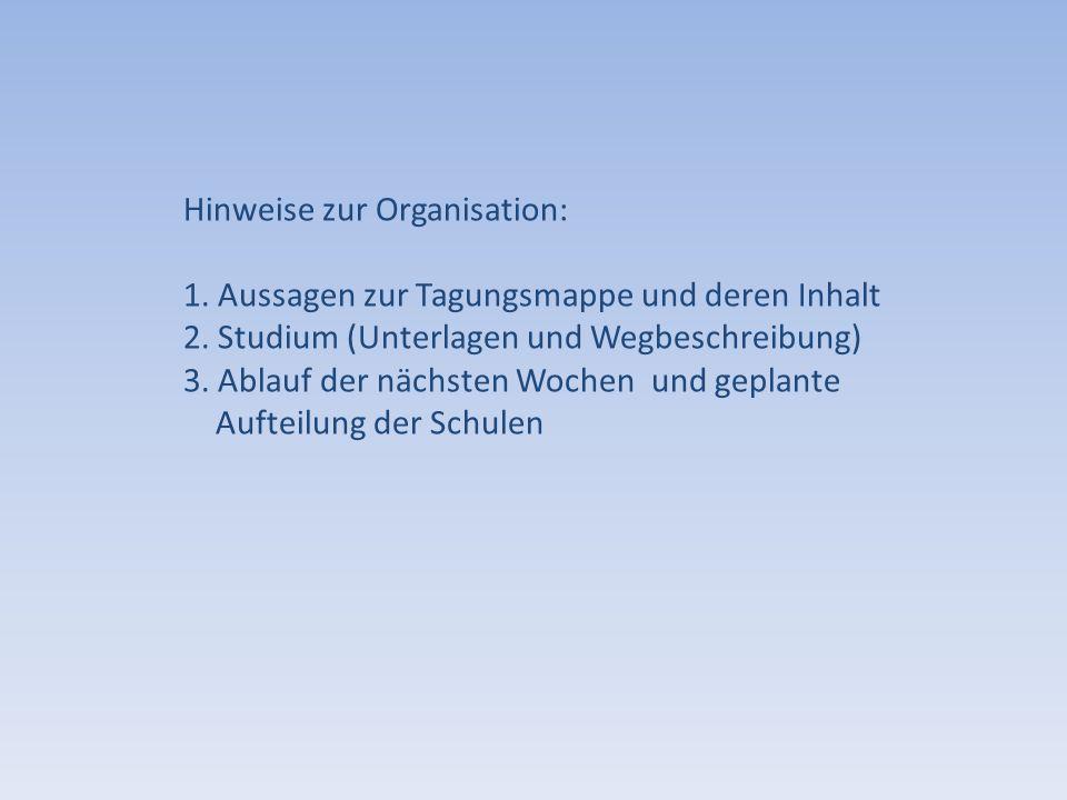 Hinweise zur Organisation: 1. Aussagen zur Tagungsmappe und deren Inhalt 2. Studium (Unterlagen und Wegbeschreibung) 3. Ablauf der nächsten Wochen und