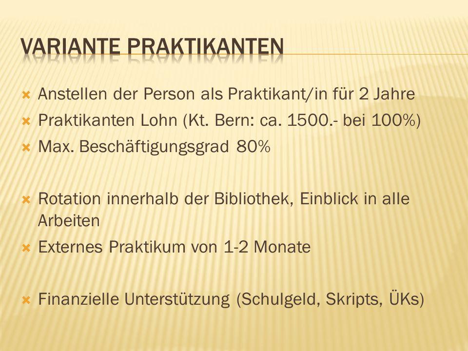  Anstellen der Person als Praktikant/in für 2 Jahre  Praktikanten Lohn (Kt.