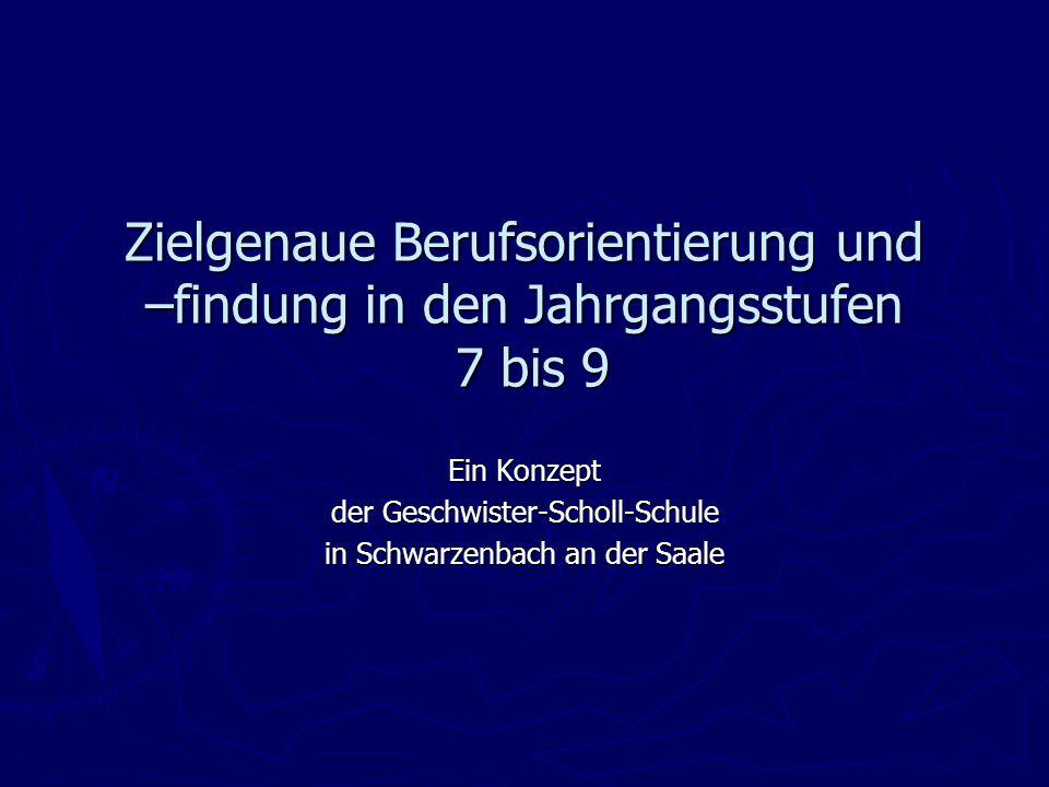 Zielgenaue Berufsorientierung und –findung in den Jahrgangsstufen 7 bis 9 Ein Konzept der Geschwister-Scholl-Schule in Schwarzenbach an der Saale