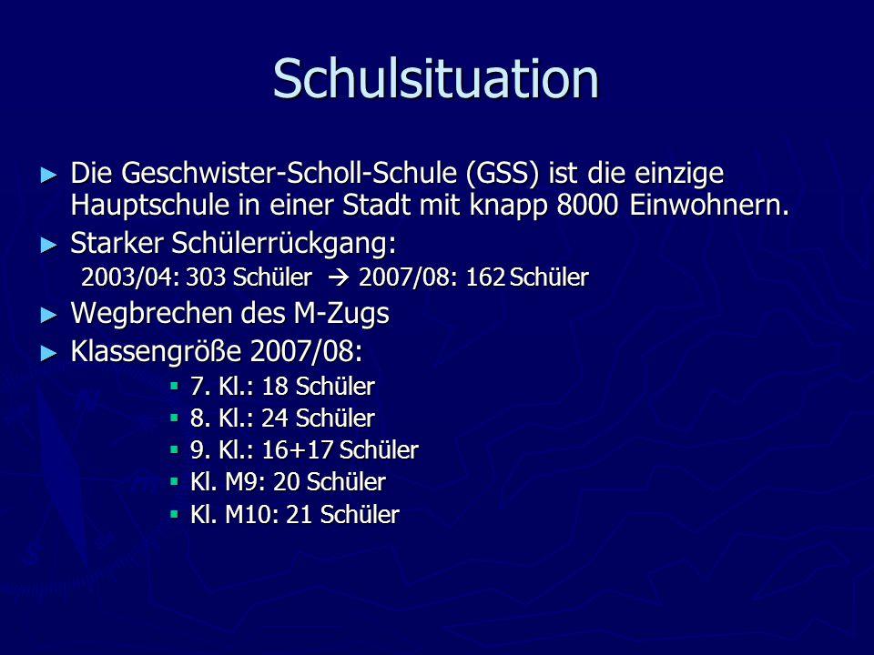 Schulsituation ► Die Geschwister-Scholl-Schule (GSS) ist die einzige Hauptschule in einer Stadt mit knapp 8000 Einwohnern.