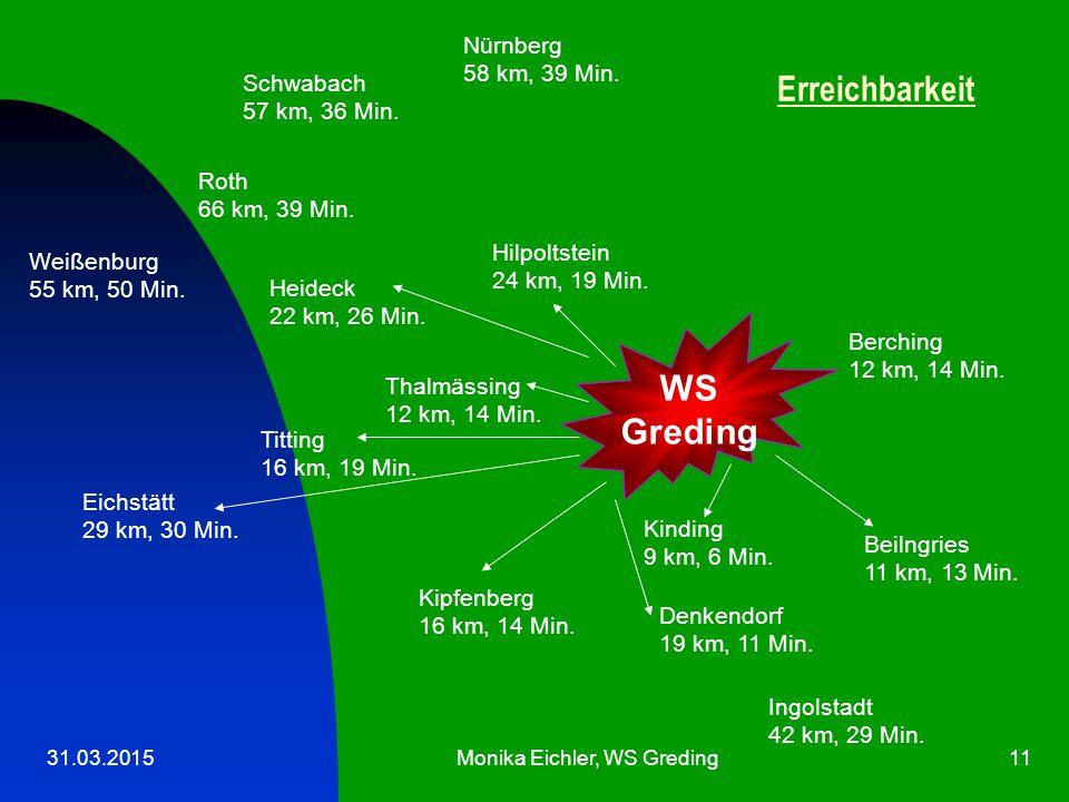 31.03.2015Monika Eichler, WS Greding11 WS Greding Ingolstadt 42 km, 29 Min.