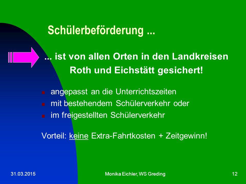 31.03.2015Monika Eichler, WS Greding12 Schülerbeförderung......