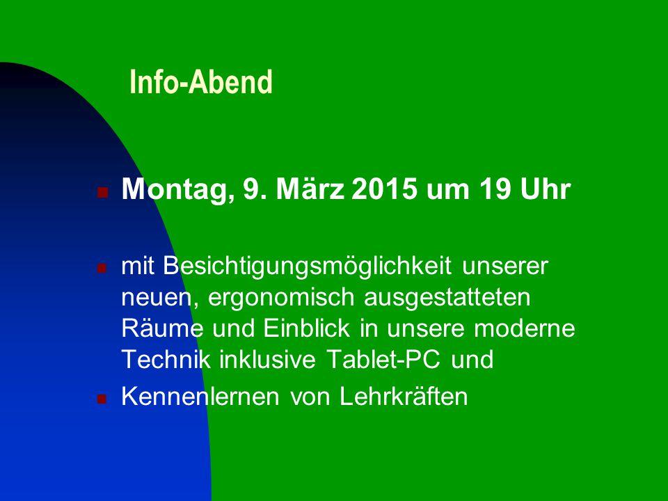 Info-Abend Montag, 9.