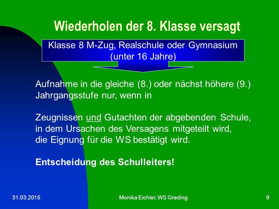31.03.2015Monika Eichler, WS Greding9 Wiederholen der 8.