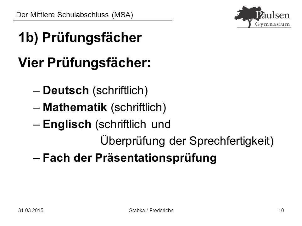 Der Mittlere Schulabschluss (MSA) 31.03.2015Grabka / Frederichs10 1b) Prüfungsfächer Vier Prüfungsfächer: –Deutsch (schriftlich) –Mathematik (schriftl
