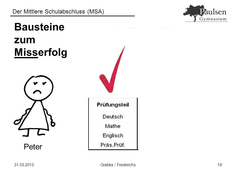 Der Mittlere Schulabschluss (MSA) 31.03.2015Grabka / Frederichs19 Bausteine zum Misserfolg Peter