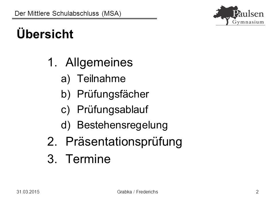 Der Mittlere Schulabschluss (MSA) 31.03.2015Grabka / Frederichs2 Übersicht 1.Allgemeines a)Teilnahme b)Prüfungsfächer c)Prüfungsablauf d)Bestehensrege
