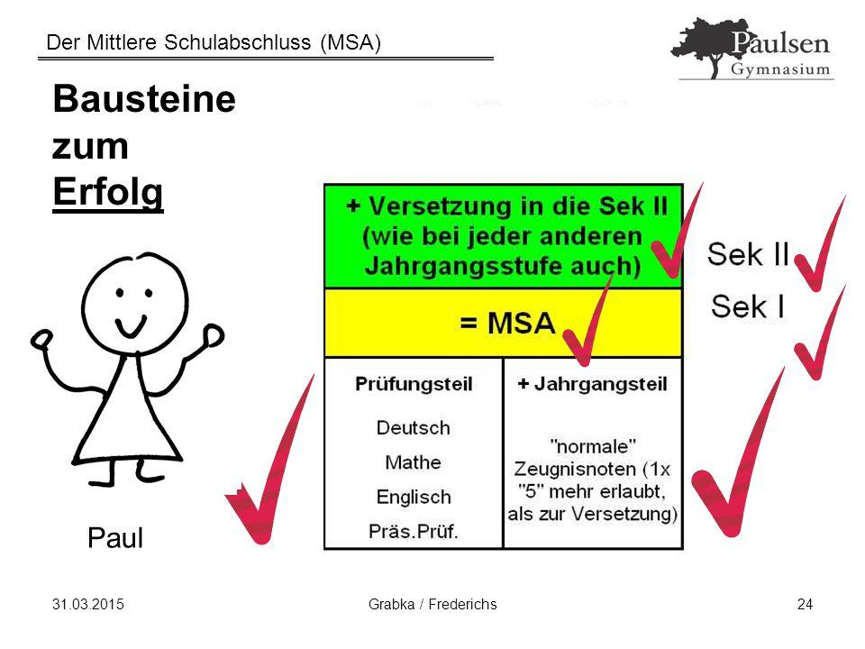 Der Mittlere Schulabschluss (MSA) 31.03.2015Grabka / Frederichs24 Bausteine zum Erfolg Paul