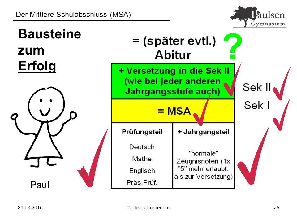 Der Mittlere Schulabschluss (MSA) 31.03.2015Grabka / Frederichs25 Bausteine zum Erfolg Paul ?