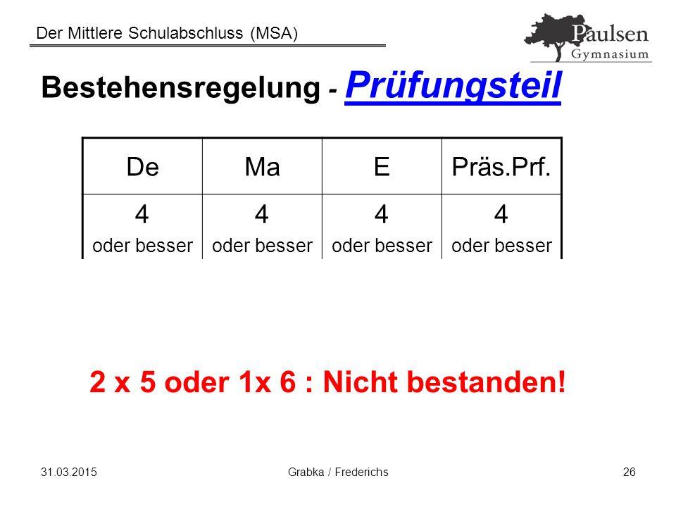 Der Mittlere Schulabschluss (MSA) 31.03.2015Grabka / Frederichs26 Bestehensregelung - Prüfungsteil DeMaEPräs.Prf. 4 oder besser 4 oder besser 4 oder b