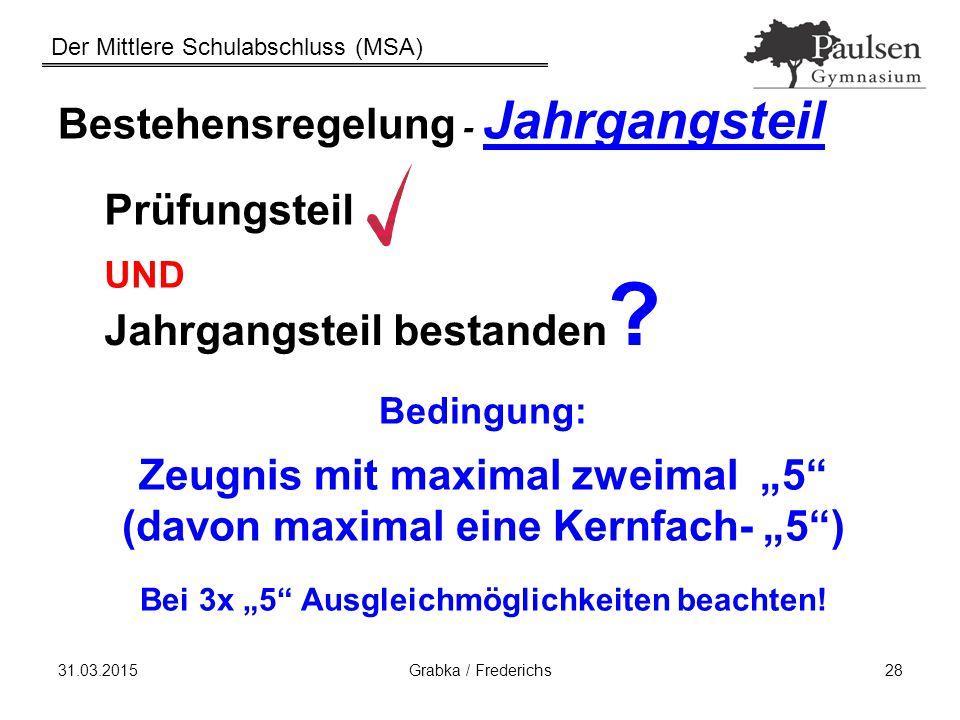 Der Mittlere Schulabschluss (MSA) 31.03.2015Grabka / Frederichs28 Bestehensregelung - Jahrgangsteil Prüfungsteil UND Jahrgangsteil bestanden ? Bedingu