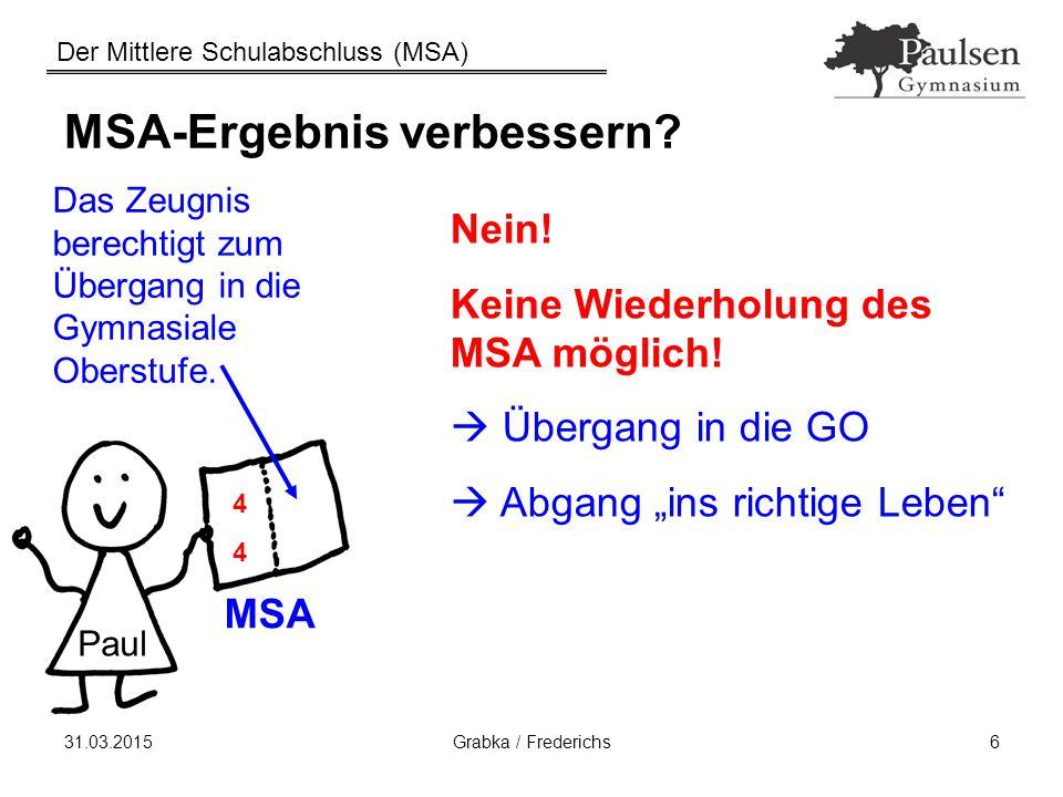 Der Mittlere Schulabschluss (MSA) 31.03.2015Grabka / Frederichs6 MSA-Ergebnis verbessern? Das Zeugnis berechtigt zum Übergang in die Gymnasiale Oberst