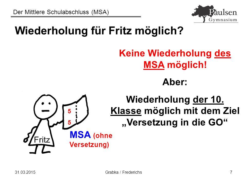 Der Mittlere Schulabschluss (MSA) 31.03.2015Grabka / Frederichs7 Wiederholung für Fritz möglich? MSA (ohne Versetzung) Keine Wiederholung des MSA mögl