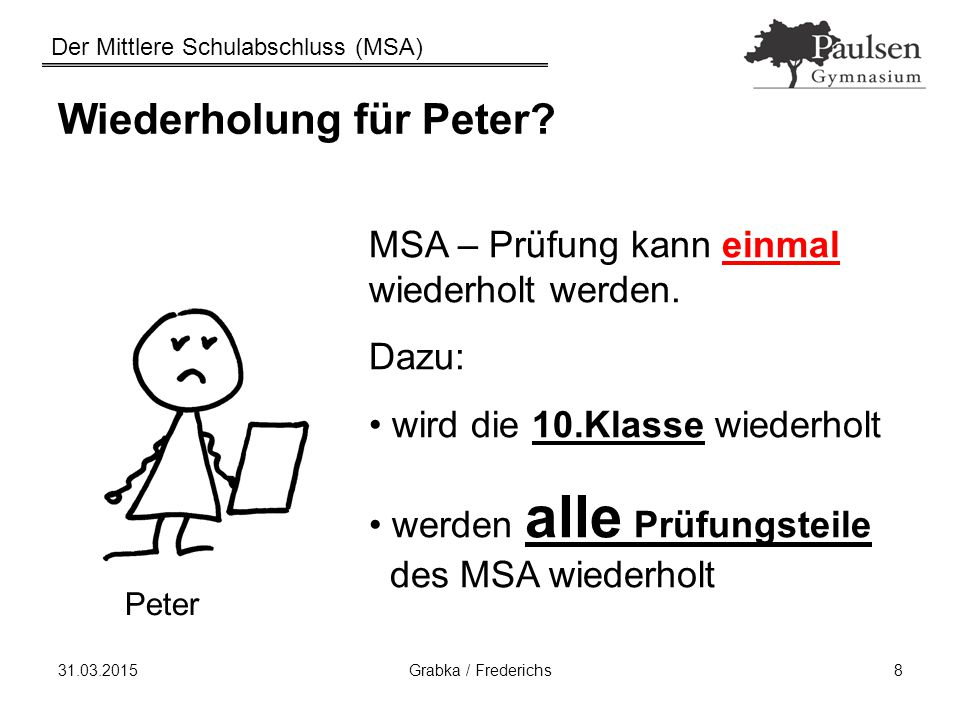 Der Mittlere Schulabschluss (MSA) 31.03.2015Grabka / Frederichs8 Wiederholung für Peter? MSA – Prüfung kann einmal wiederholt werden. Dazu: wird die 1