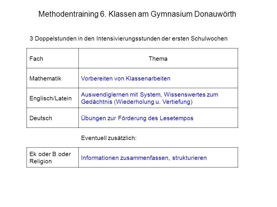 Methodentraining 6. Klassen am Gymnasium Donauwörth 3 Doppelstunden in den Intensivierungsstunden der ersten Schulwochen FachThema MathematikVorbereit