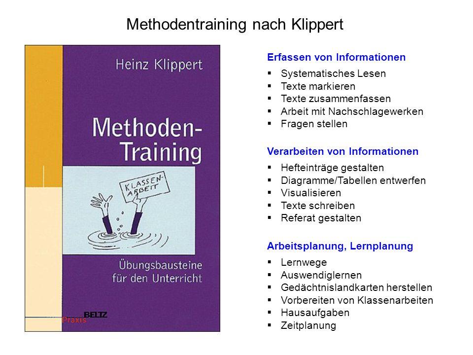 Methodentraining nach Klippert Erfassen von Informationen  Systematisches Lesen  Texte markieren  Texte zusammenfassen  Arbeit mit Nachschlagewerk