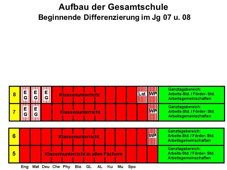 Aufbau der Gesamtschule Beginnende Differenzierung im Jg 07 u. 08