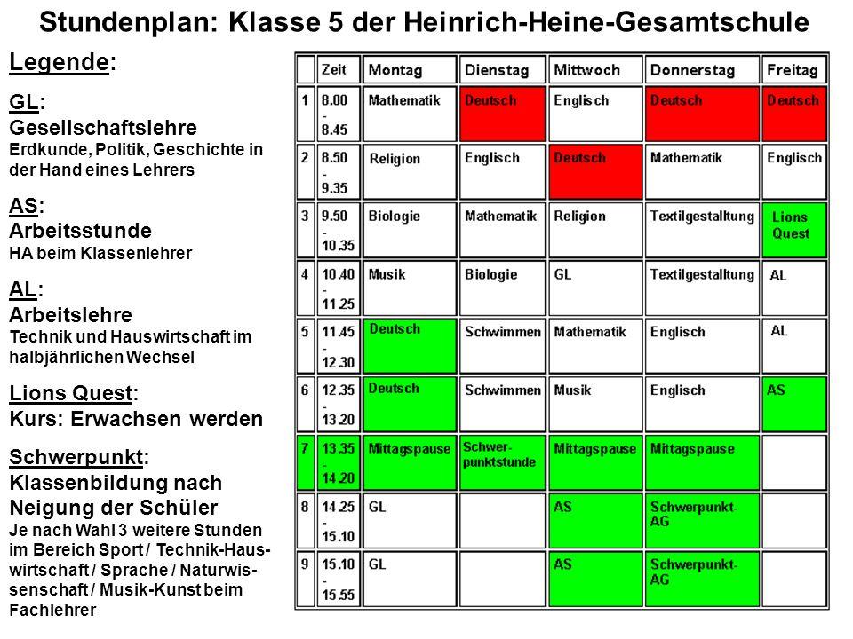Stundenplan: Klasse 5 der Heinrich-Heine-Gesamtschule Legende: GL: Gesellschaftslehre Erdkunde, Politik, Geschichte in der Hand eines Lehrers AS: Arbe