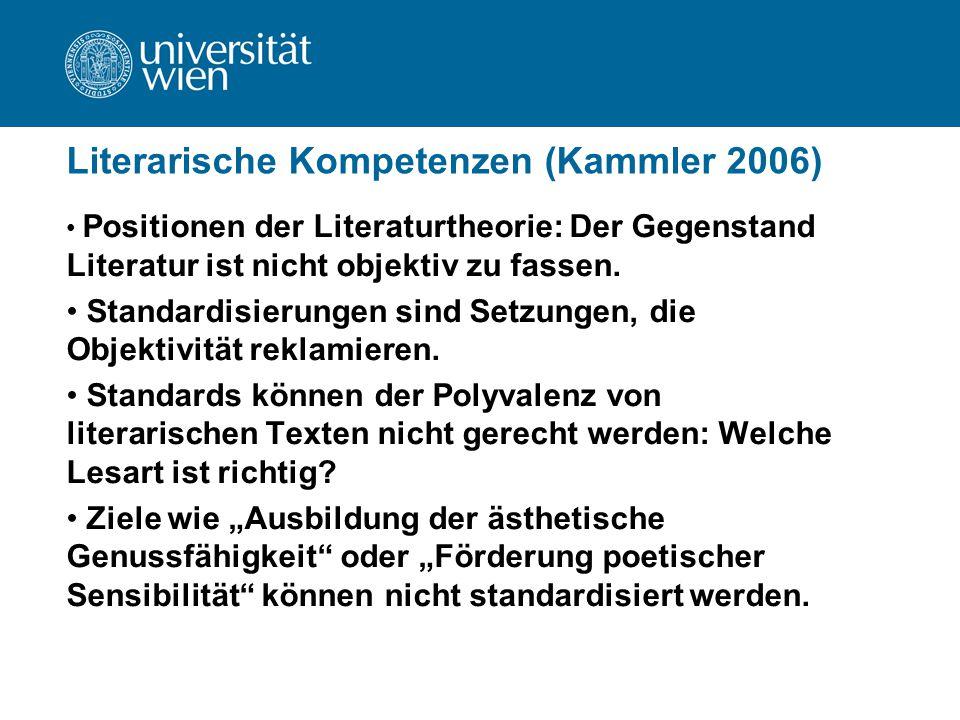 Literarische Kompetenzen (Kammler 2006) Positionen der Literaturtheorie: Der Gegenstand Literatur ist nicht objektiv zu fassen. Standardisierungen sin