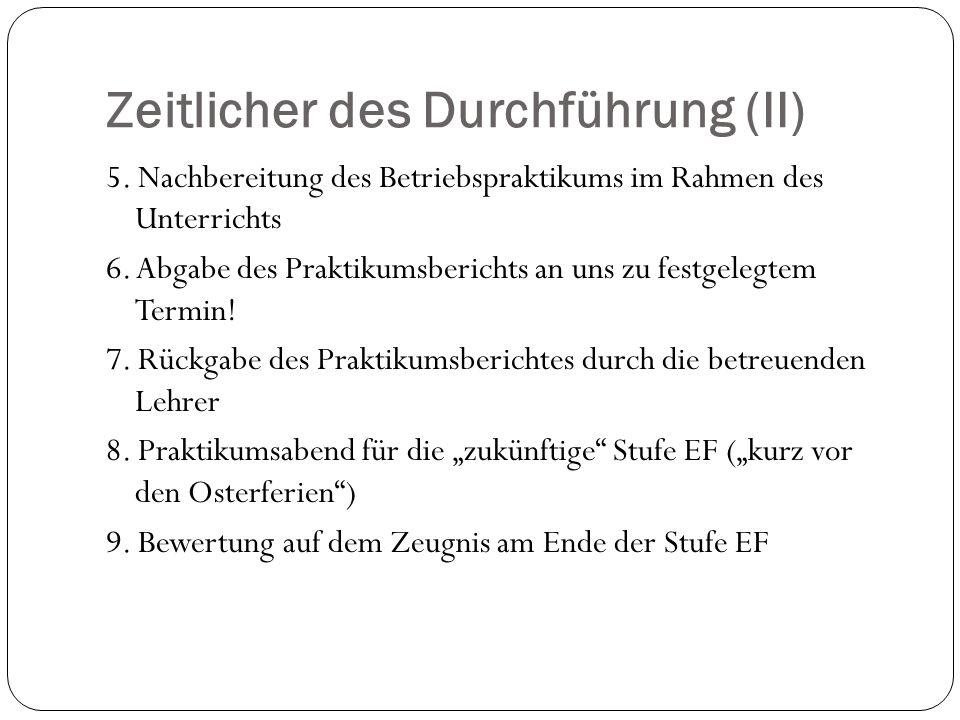 Zeitlicher des Durchführung (II) 5.