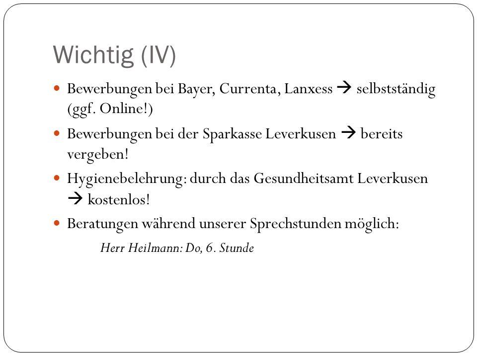 WICHTIG (V) Bewerbungen auf einen externen Praktikumsplatz  an Frau Gehrke-Bramhoff gerichtet; aber BEI MIR mit BEGRÜNDUNG und BESTÄTIGUNGSFORMULAR einreichen.