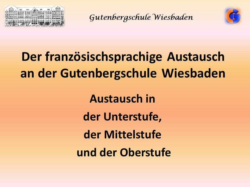Der französischsprachige Austausch an der Gutenbergschule Wiesbaden Austausch in der Unterstufe, der Mittelstufe und der Oberstufe Gutenbergschule Wie