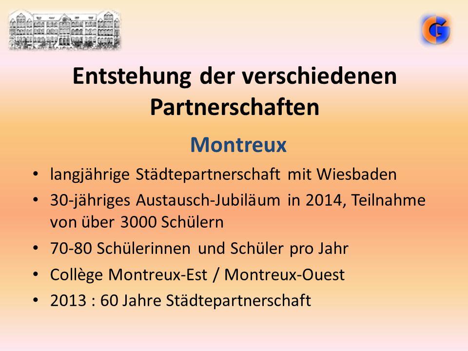 Entstehung der verschiedenen Partnerschaften Montreux langjährige Städtepartnerschaft mit Wiesbaden 30-jähriges Austausch-Jubiläum in 2014, Teilnahme