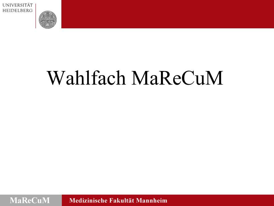  Angebot eines MaReCuM-spezifischen Wahlfachs  1.
