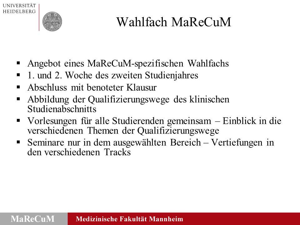 Wahlfach MaReCuM Qualifizierungsweg Klinische Praxis: Wahlfach Medical Skills - Notfallmedizin (inklusive 1.