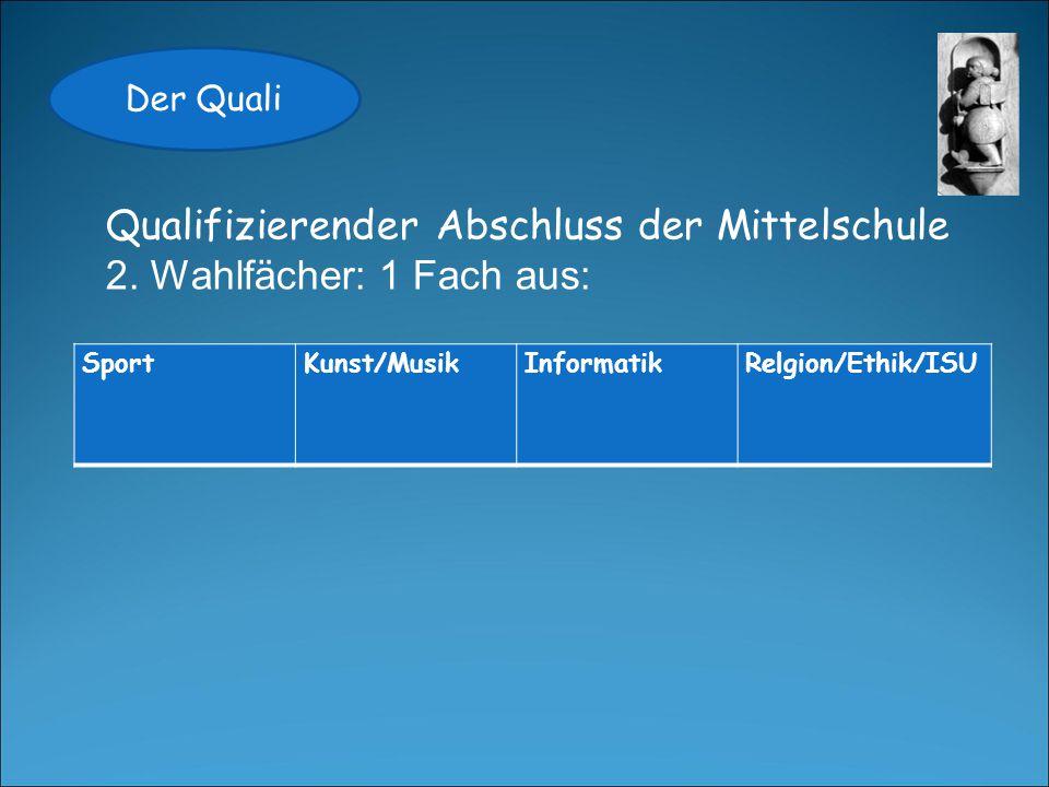 Der Quali Qualifizierender Abschluss der Mittelschule Bestanden mit 3,0 FachJahresfortgangsnotePrüfungsnote Deutsch (x2)33 Mathe (x2)33 Projektprüfung (x2)AWT 3 + boZ-Fach 33 Wahlfach 1 (x2)33 Wahlfach 2 (x1)33