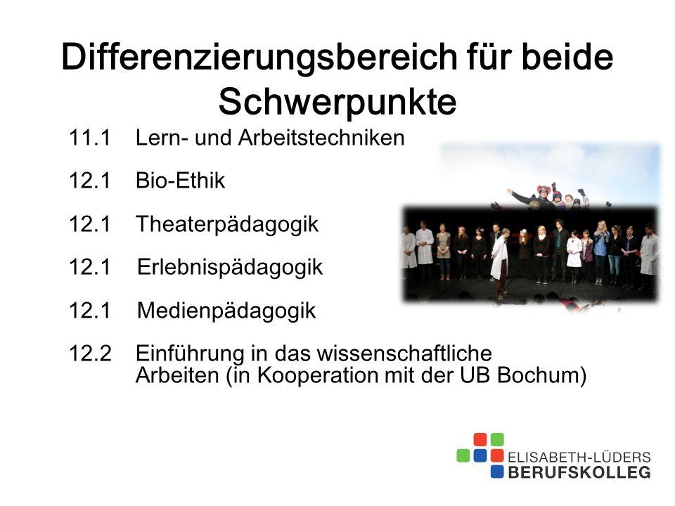 Differenzierungsbereich für beide Schwerpunkte 11.1Lern- und Arbeitstechniken 12.1Bio-Ethik 12.1Theaterpädagogik 12.1 Erlebnispädagogik 12.1 Medienpäd