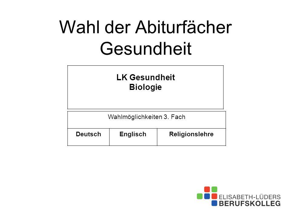 Wahl der Abiturfächer Gesundheit LK Gesundheit Biologie Wahlmöglichkeiten 3. Fach DeutschEnglischReligionslehre