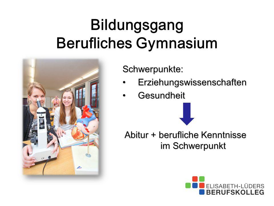 Schwerpunkte: ErziehungswissenschaftenErziehungswissenschaften GesundheitGesundheit Abitur + berufliche Kenntnisse im Schwerpunkt Bildungsgang Berufli