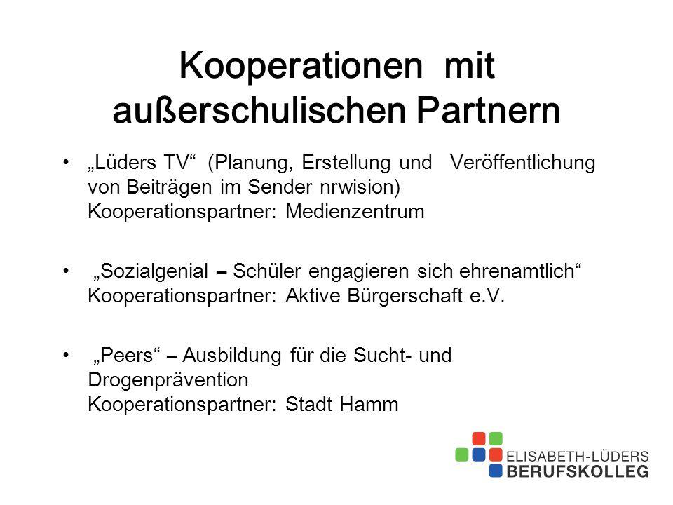 """Kooperationen mit außerschulischen Partnern """"Lüders TV"""" (Planung, Erstellung und Veröffentlichung von Beiträgen im Sender nrwision) Kooperationspartne"""