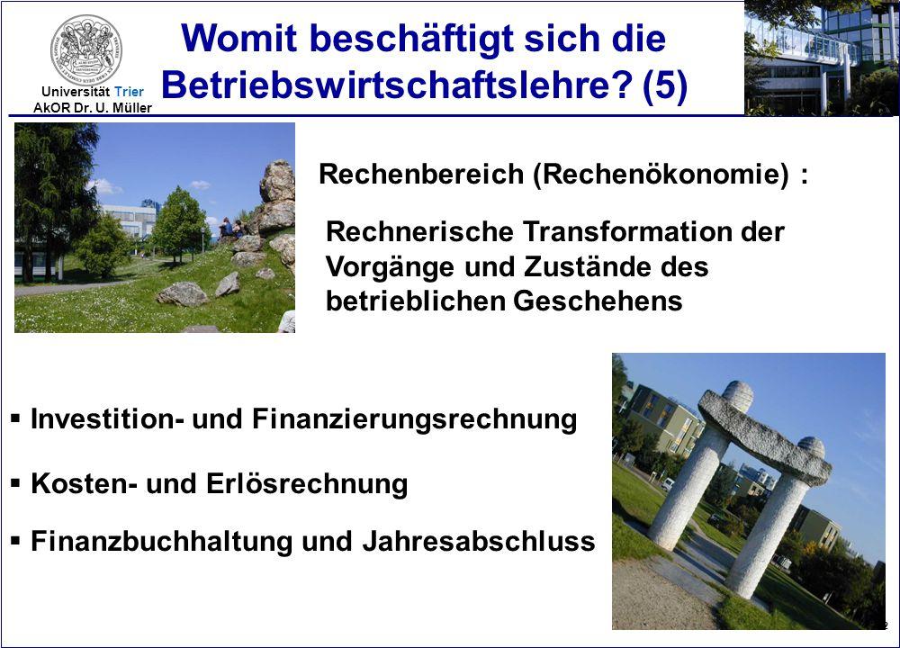 2005-12 Universität Trier AkOR Dr. U. Müller Womit beschäftigt sich die Betriebswirtschaftslehre? (5) Rechenbereich (Rechenökonomie) : Rechnerische Tr