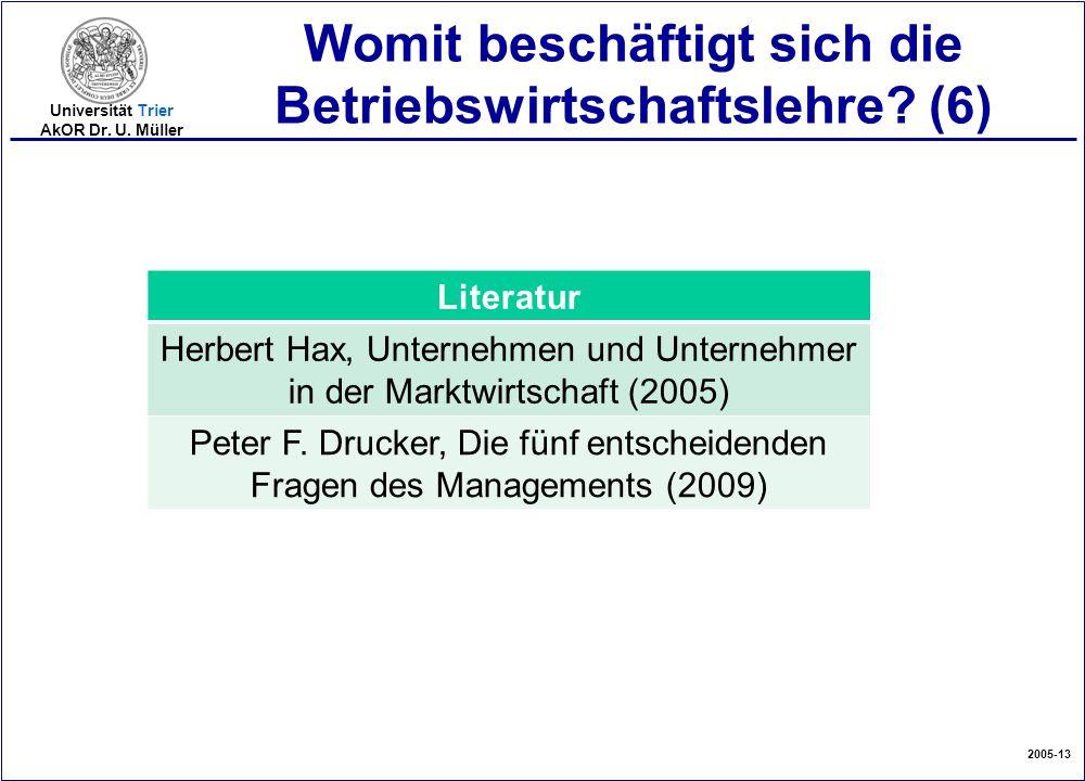 2005-13 Universität Trier AkOR Dr. U. Müller Womit beschäftigt sich die Betriebswirtschaftslehre? (6) Literatur Herbert Hax, Unternehmen und Unternehm