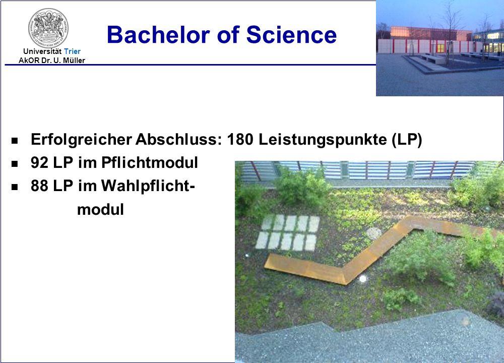 2005-16 Universität Trier AkOR Dr. U. Müller n Erfolgreicher Abschluss: 180 Leistungspunkte (LP) n 92 LP im Pflichtmodul n 88 LP im Wahlpflicht- modul