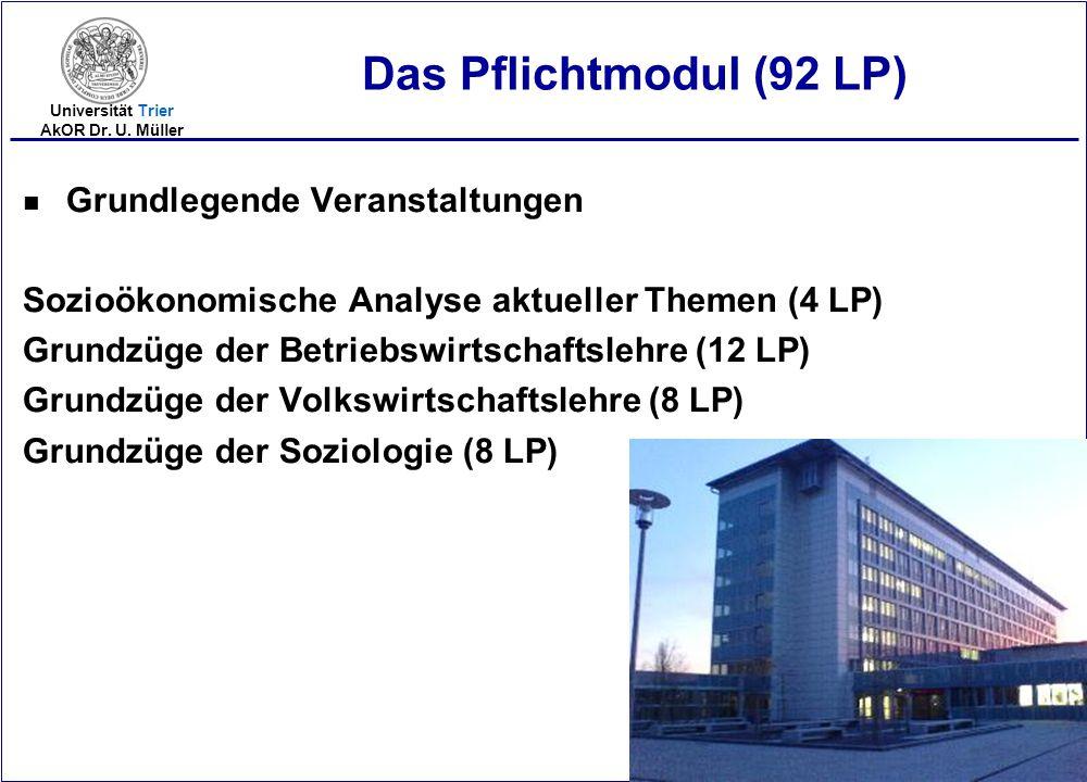 2005-17 Universität Trier AkOR Dr. U. Müller Das Pflichtmodul (92 LP) n Grundlegende Veranstaltungen Sozioökonomische Analyse aktueller Themen (4 LP)