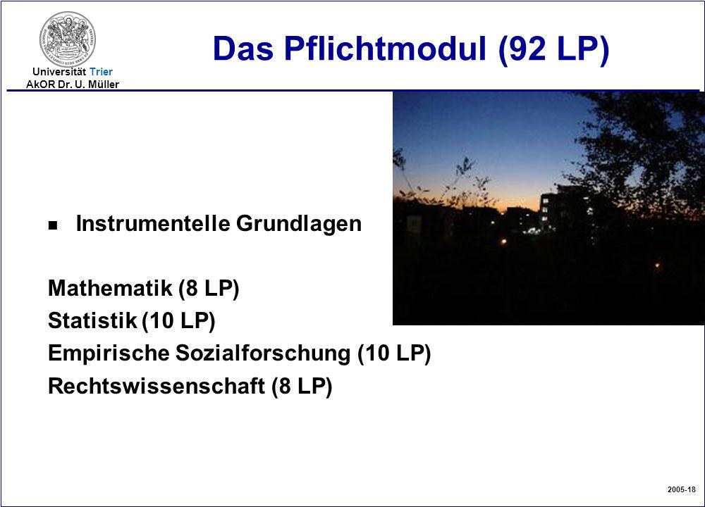 2005-18 Universität Trier AkOR Dr. U. Müller Das Pflichtmodul (92 LP) n Instrumentelle Grundlagen Mathematik (8 LP) Statistik (10 LP) Empirische Sozia