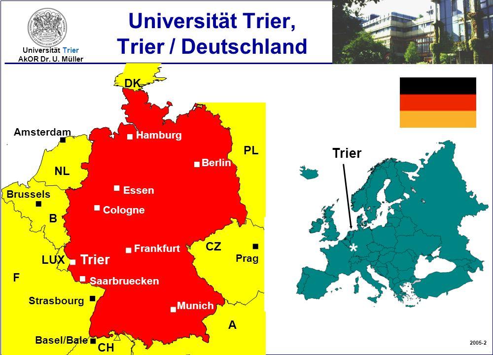 2005-2 Universität Trier AkOR Dr. U. Müller Universität Trier, Trier / Deutschland F CZ PL A CH NL B LUX. Saarbruecken. Strasbourg. Basel/Bale Brussel