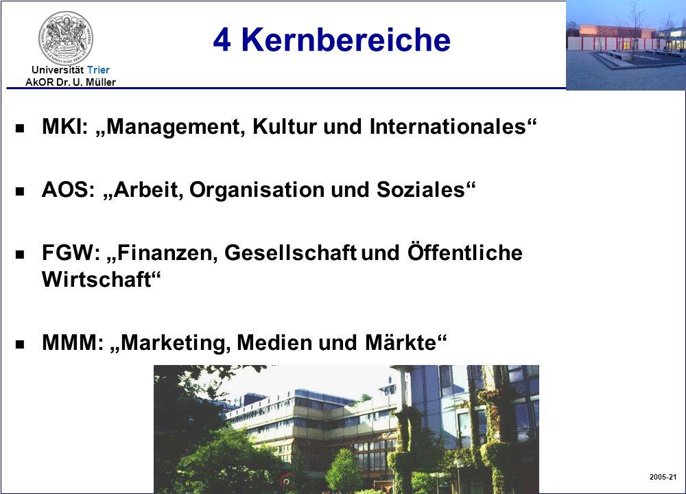 """2005-21 Universität Trier AkOR Dr. U. Müller 4 Kernbereiche nMnMKI: """"Management, Kultur und Internationales"""" nAnAOS: """"Arbeit, Organisation und Soziale"""