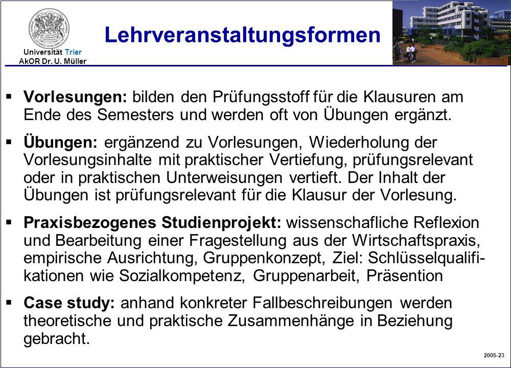 2005-23 Universität Trier AkOR Dr. U. Müller Lehrveranstaltungsformen  Vorlesungen: bilden den Prüfungsstoff für die Klausuren am Ende des Semesters